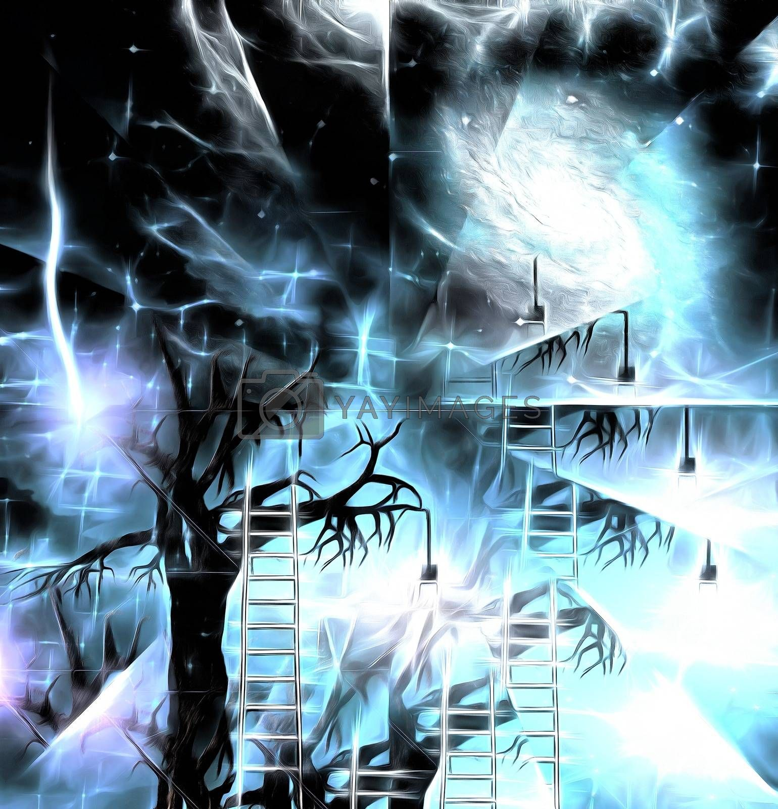 Tree with lightbulbs. Surreal art. 3D rendering