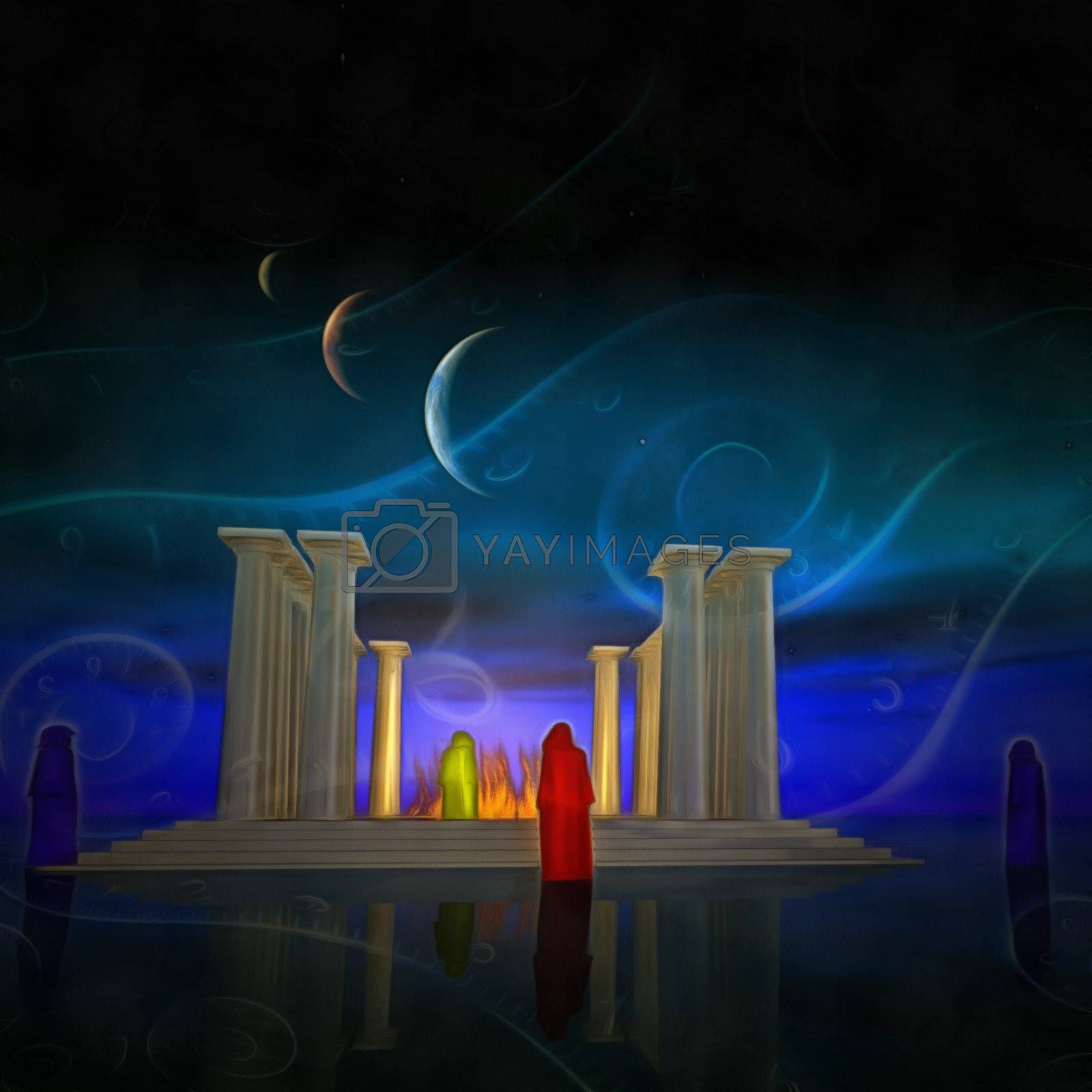 Surreal painting. White temple with fire inside. Monks. Spirals of time. 3D rendering