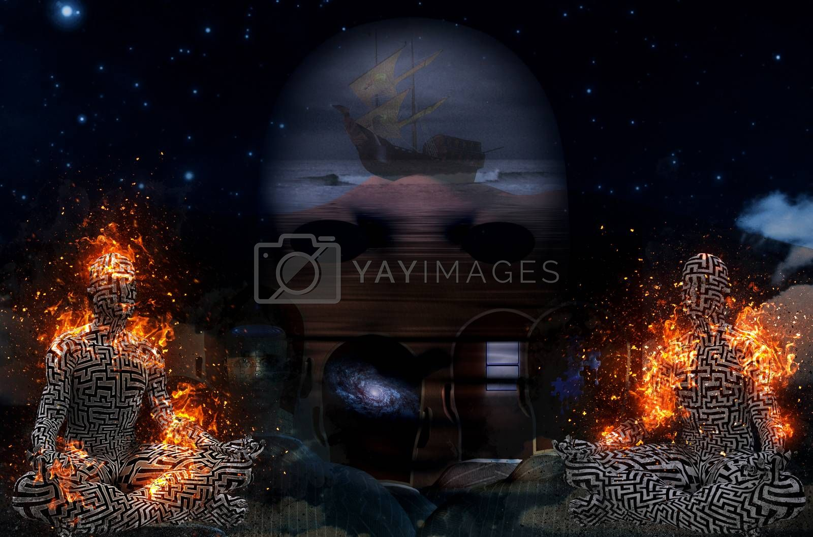 Complex surreal art. Ancient ship on a sand dune. Burning figure of man in lotus pose. Men's heads with different thoughts inside. 3D rendering