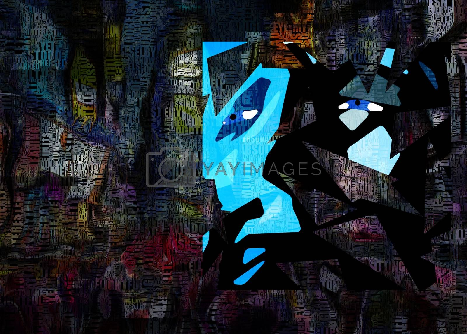 Times Square New York Painting. Picasso style. Words. 3D rendering