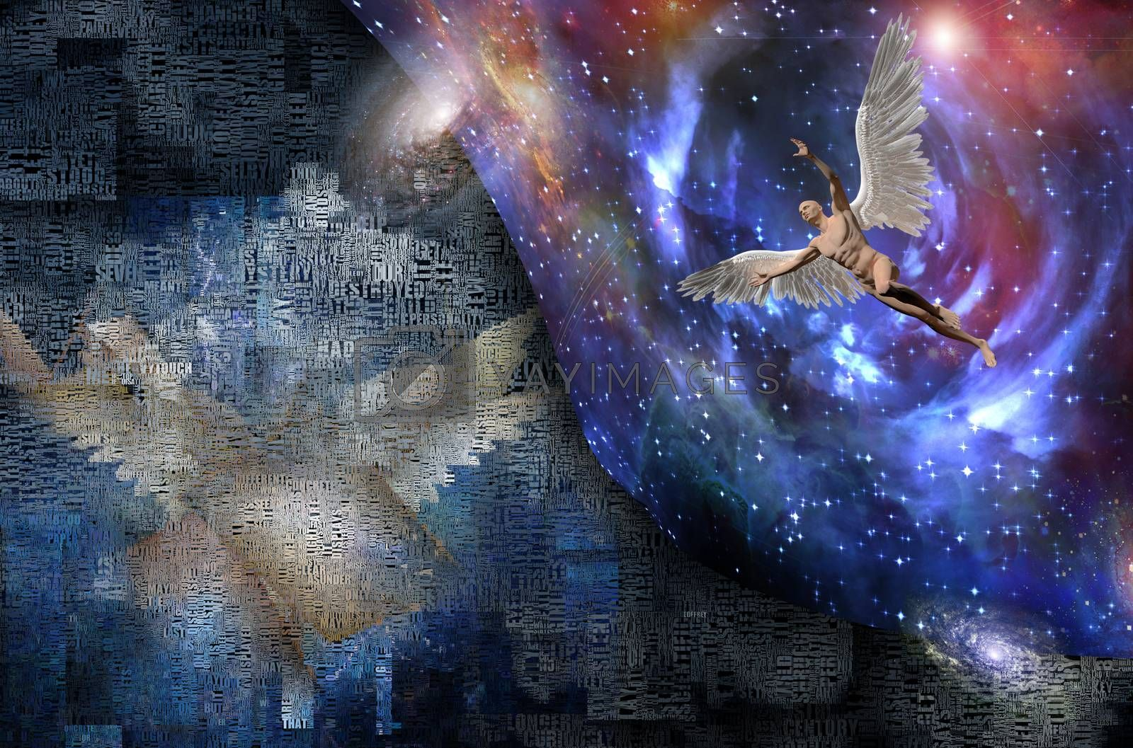 Abstract clouds and wings. Man with wings represents angel. 3D rendering