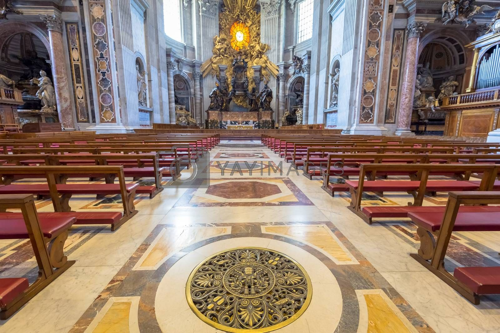 Saint Peter Basilica, Vatican State in Rome: interior with Bernini Holy Spirit Dove in background