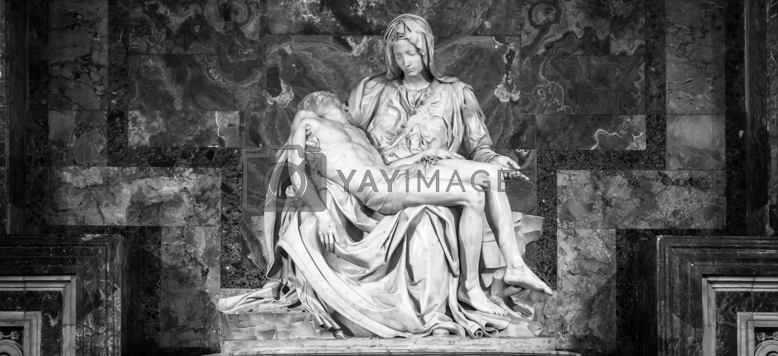 ROME, VATICAN STATE - August 28, 2018: Pietà di Michelangelo (The Pity), 1498-1499, located in St. Peter Basilica in Rome