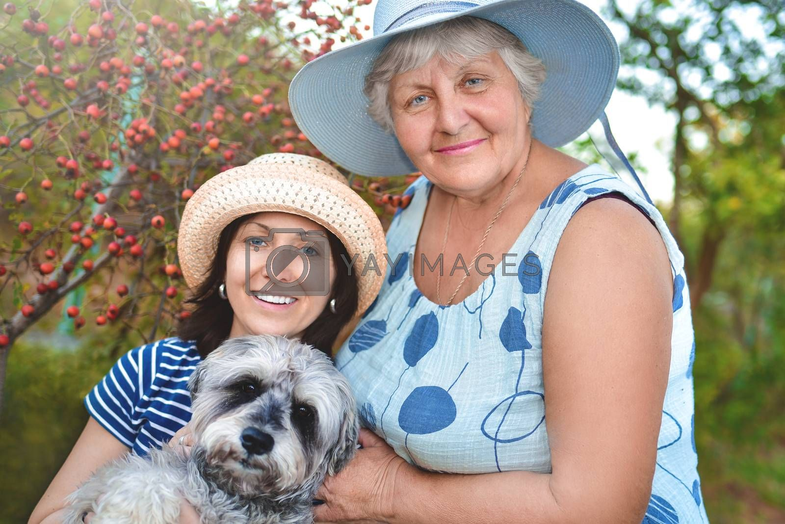 portrait of a happy elderly woman hugging her daughter and their dog. Family concept