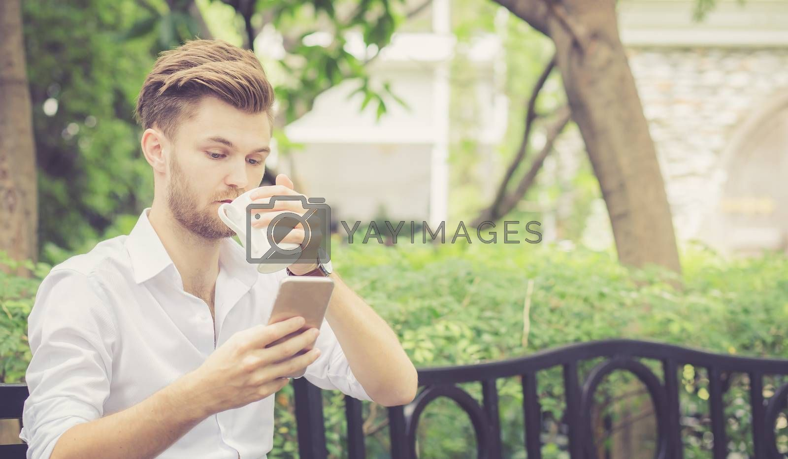 Business young handsome man drink cup of coffee using mobile phone sitting in the park, communication concept.