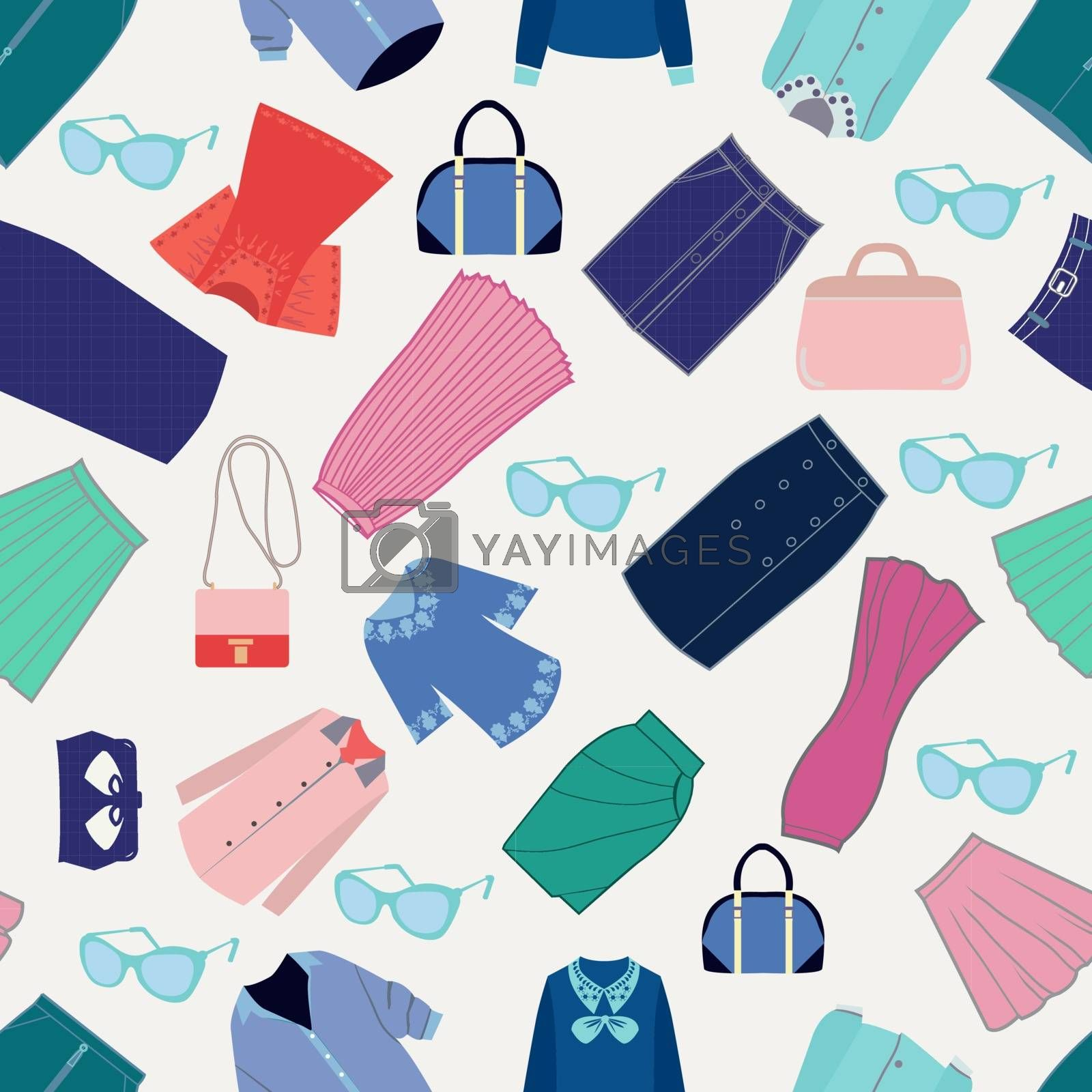 Vector Seamless pattern different fashion shirts, skirts and accessories. Collection of trendy women's clothes.
