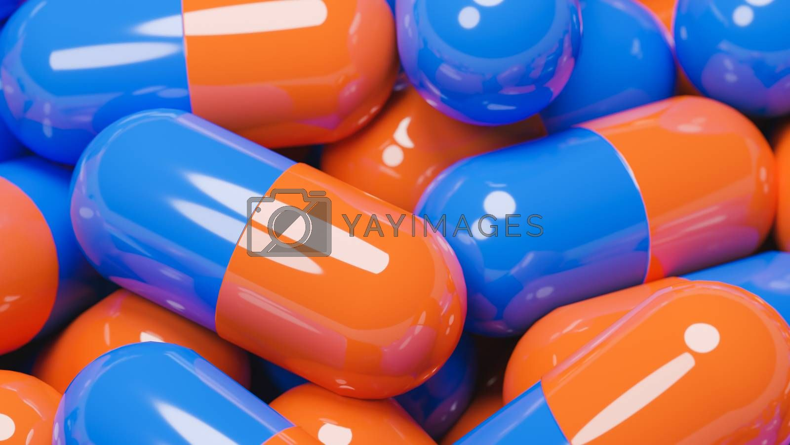 Close up of many orange and blue pills capsules. Medicine and pharmacy concept.,3d model and illustration.