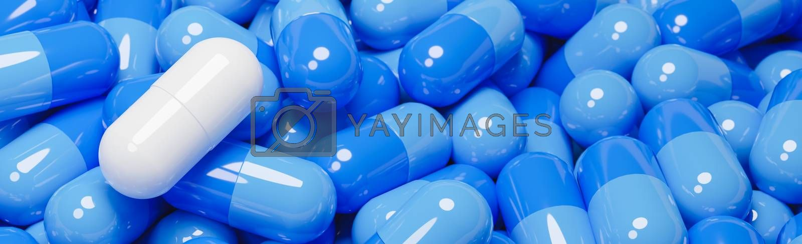 Close up of white pill capsule in many blue pills capsules. Medicine and Specialty Pharmaceuticals concept.,3d model and illustration.