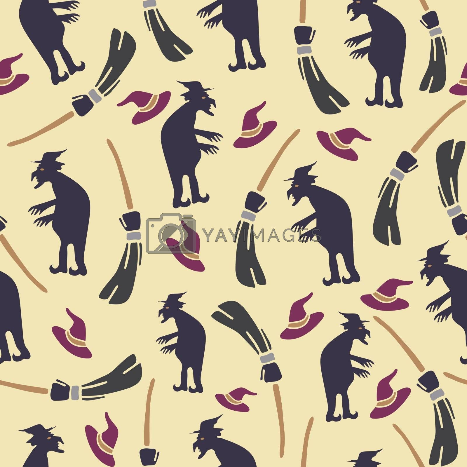 Abstract seamless halloween pattern for girls or boys. Creative vector background with cat, witch, halloween. Funny pattern for textile and fabric. Fashion halloween style. Colorful bright picture