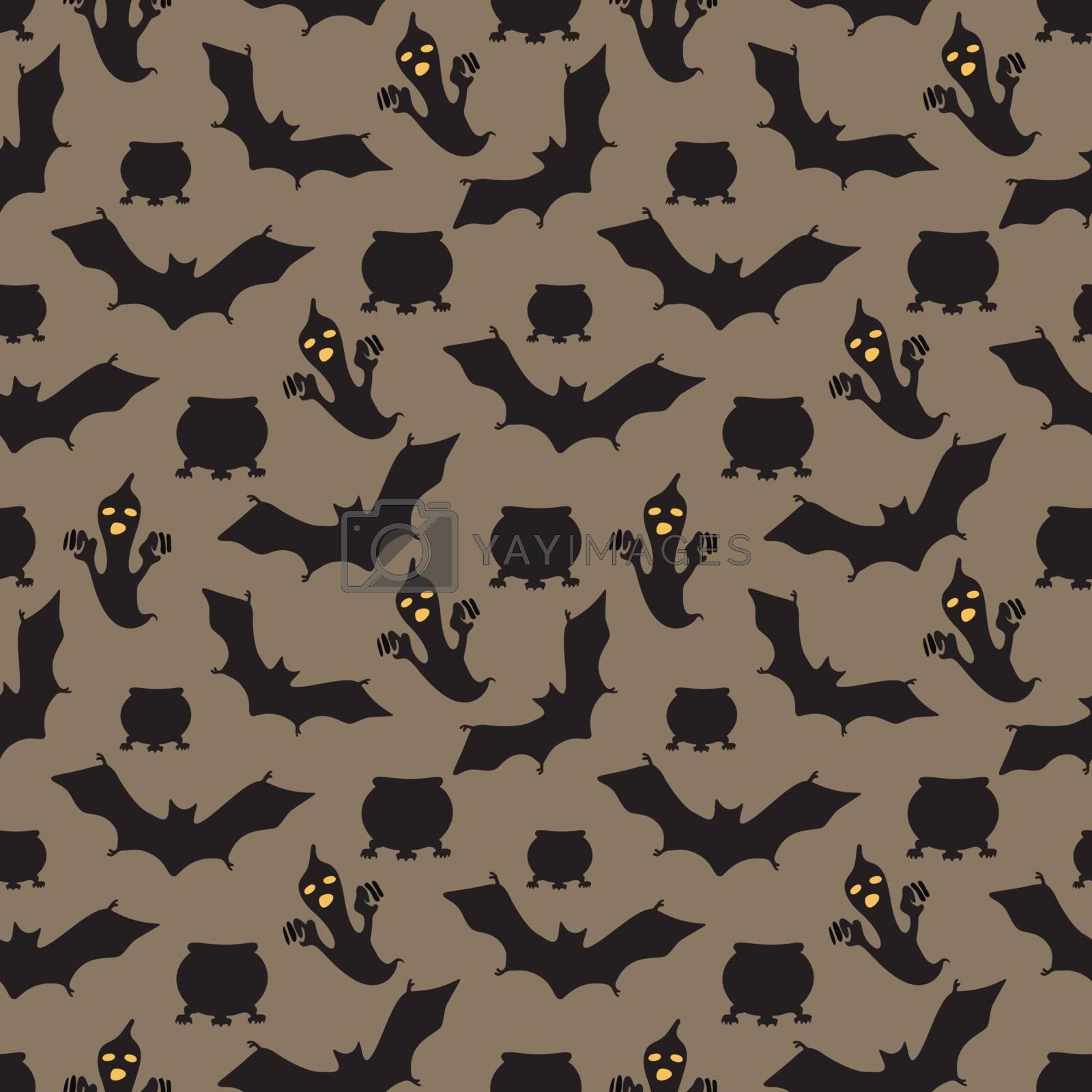 Happy halloween vector seamless pattern.
