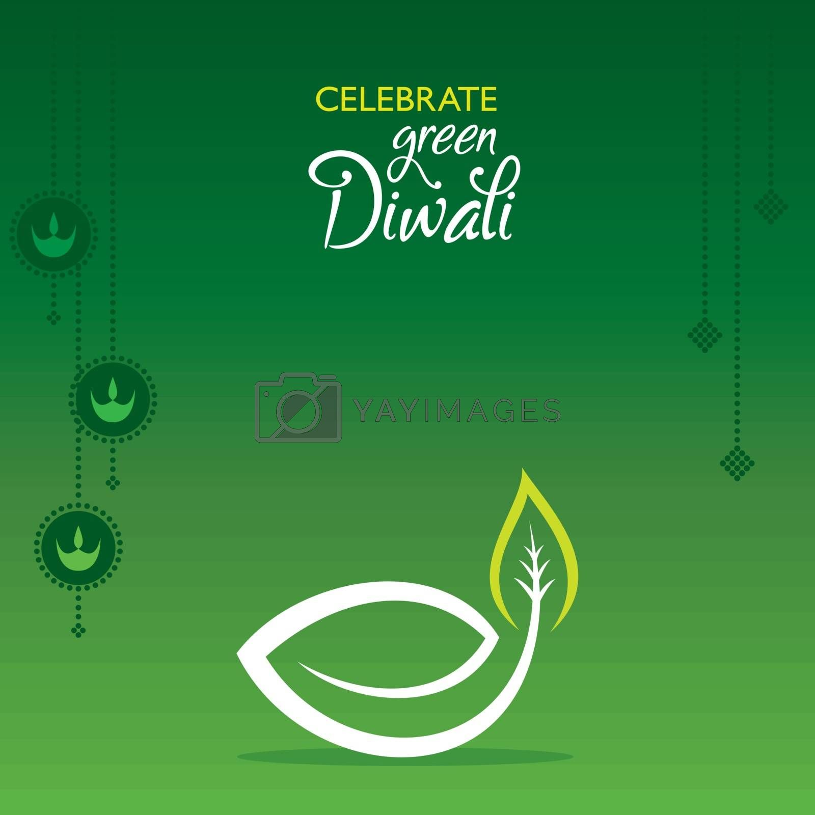 illustration of Greeting for celebrate green diwali concept