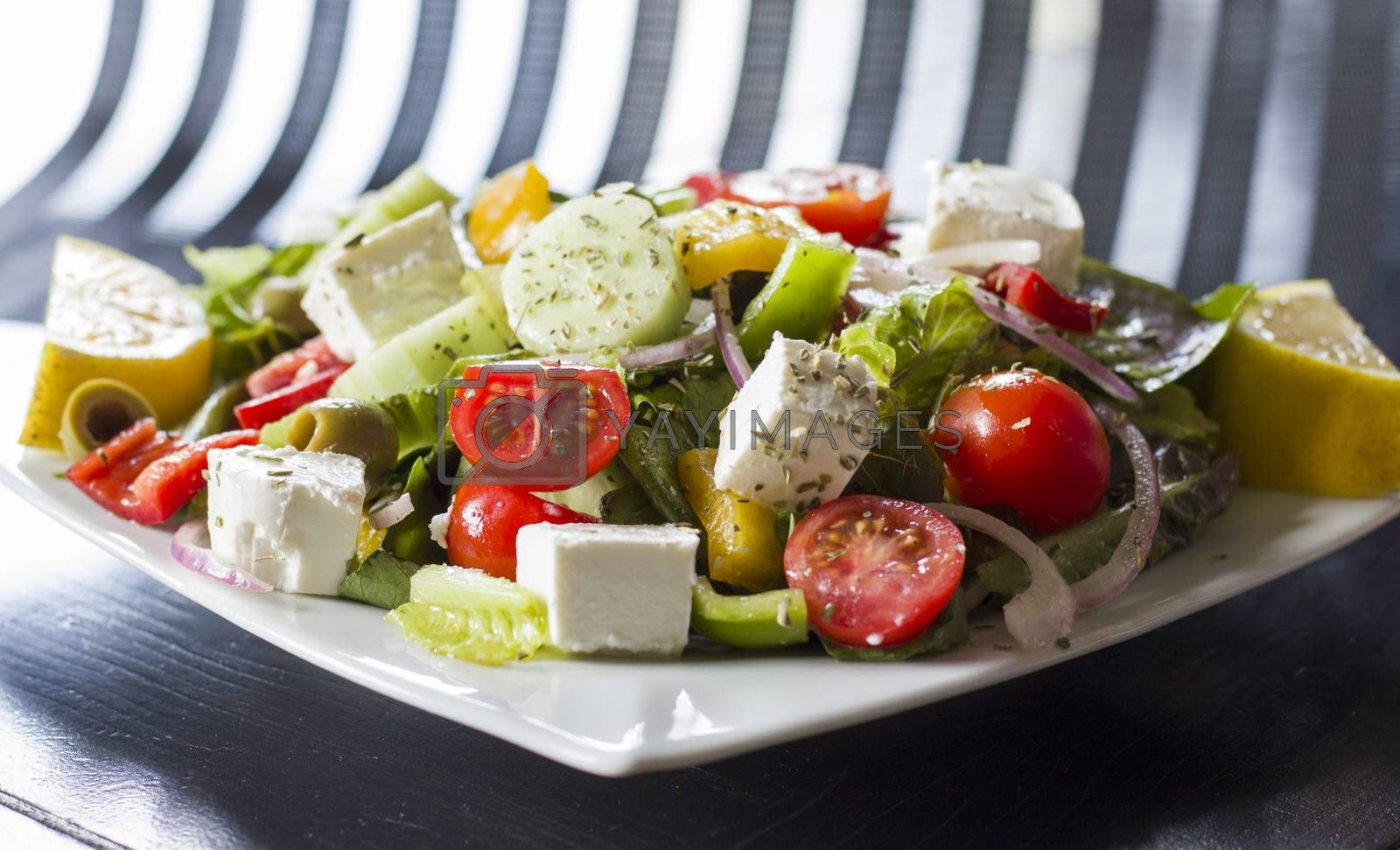 Vegetarian salad with tomatoes, cheese,vegetables and green salad. Studio shot.
