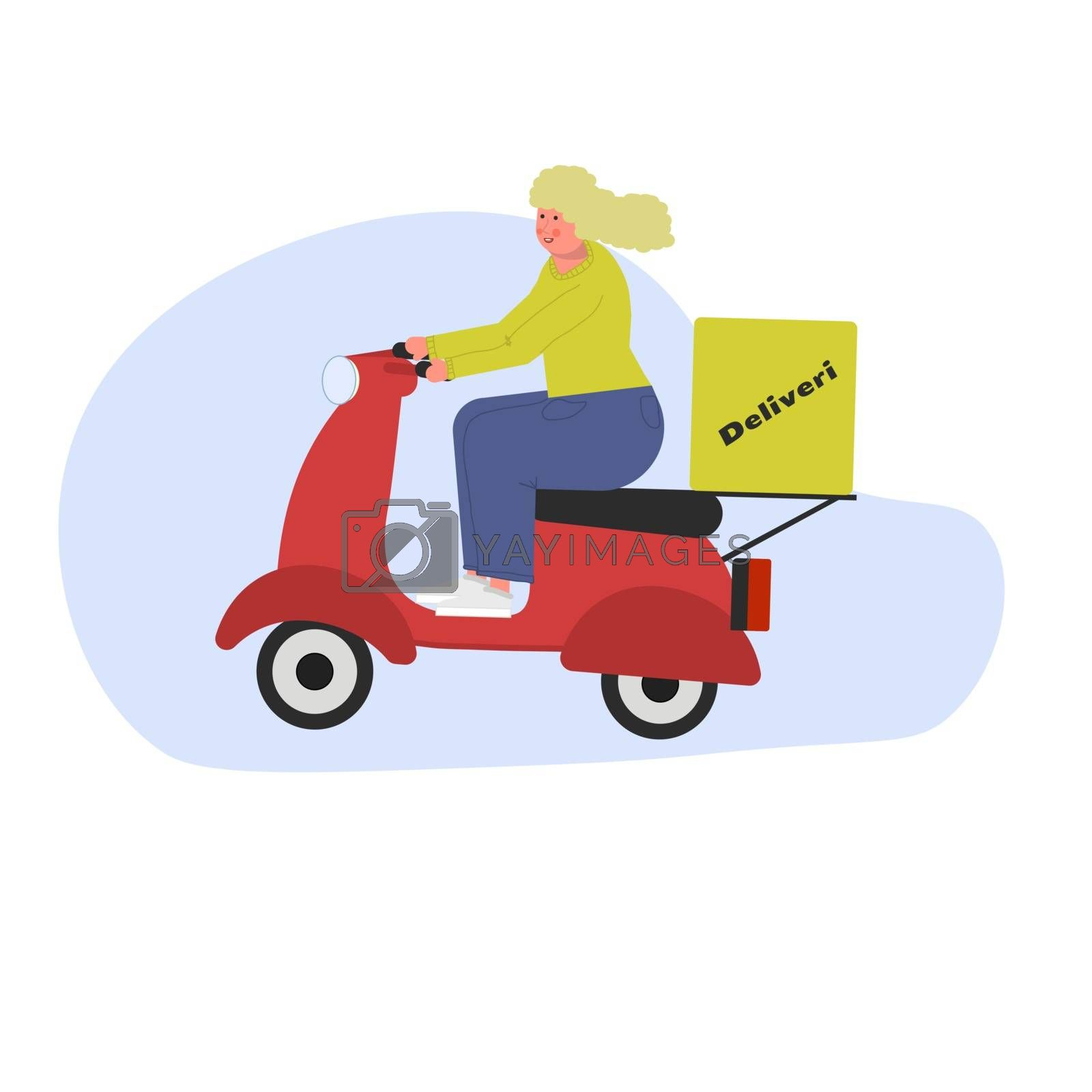 Girl courier blonde without helmet courier on a scooter. Vector illustration in flat style. by zaryov