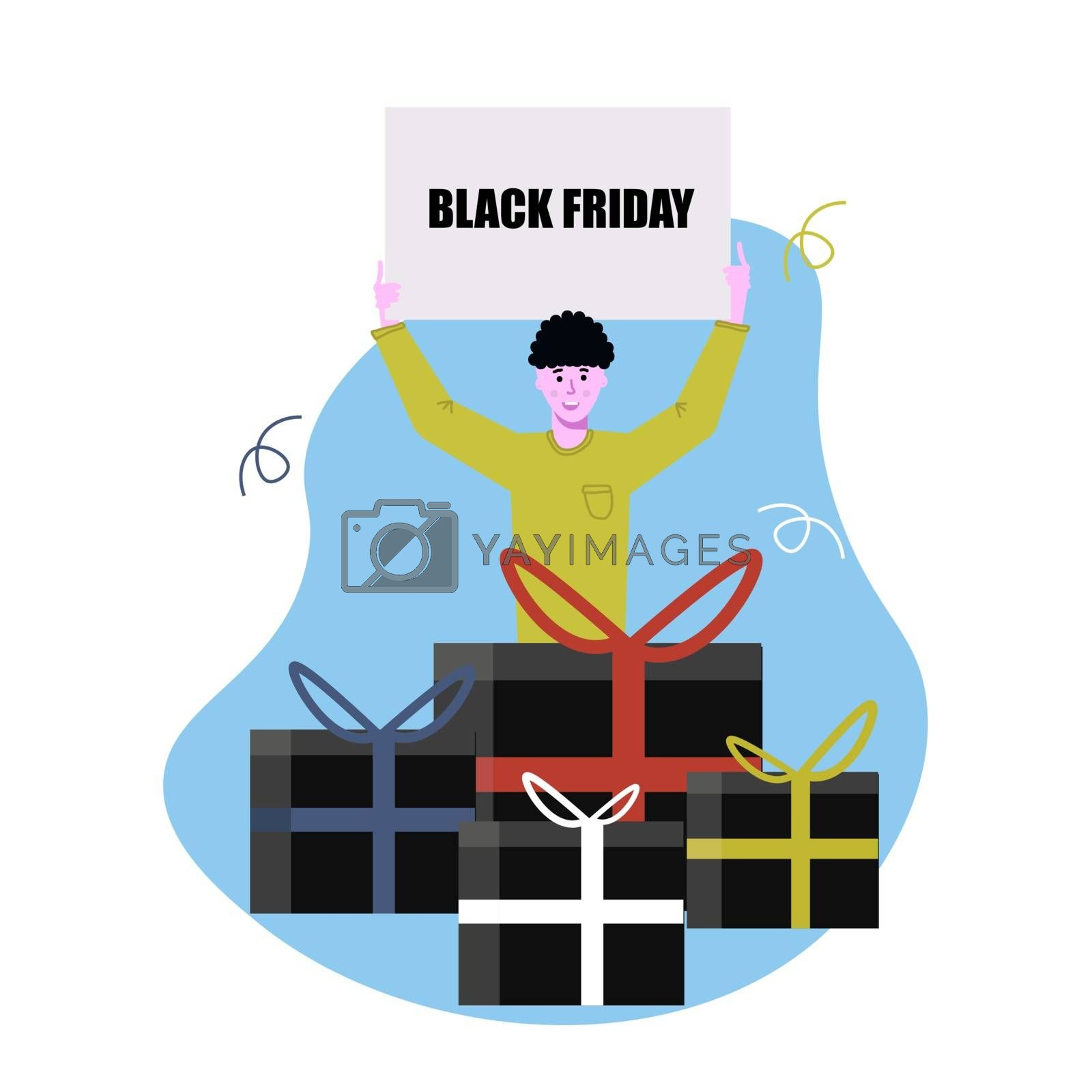 A man holds a poster with a discount announcement. Black Friday. Gifts, boxes, shopping. Shopping hand drawn illustration. Sales promotion. by zaryov