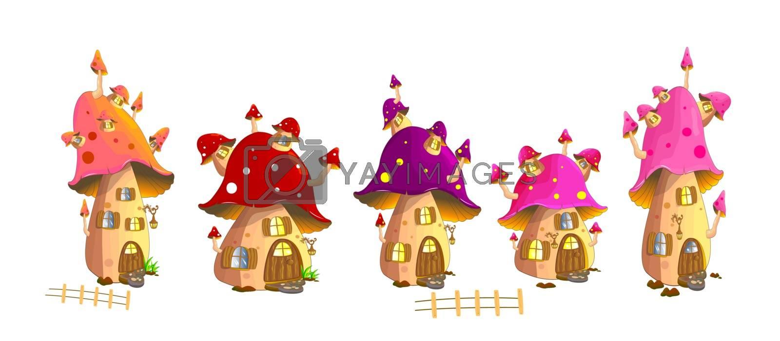 Set of fairy mushroom houses on a white background.
