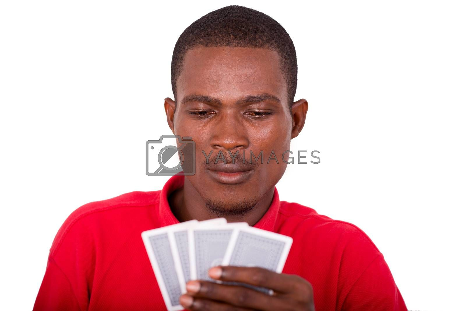 Man with poker cards on a white background