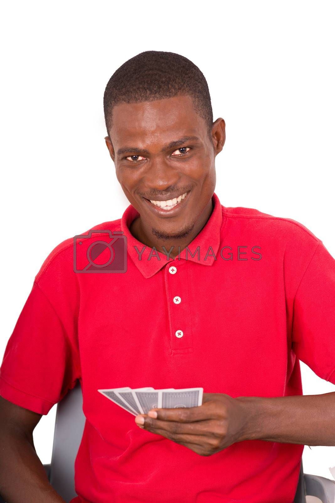 confident man holding cards looking at the camera. Studio shot on white background. Happy emotions