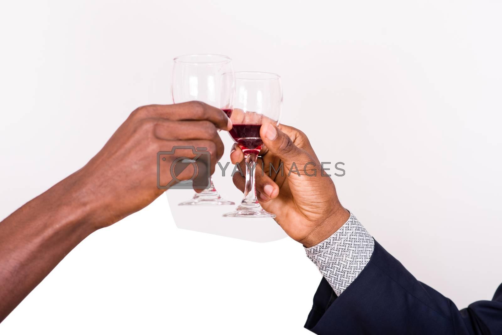 businessmen clinking wine glasses on white background