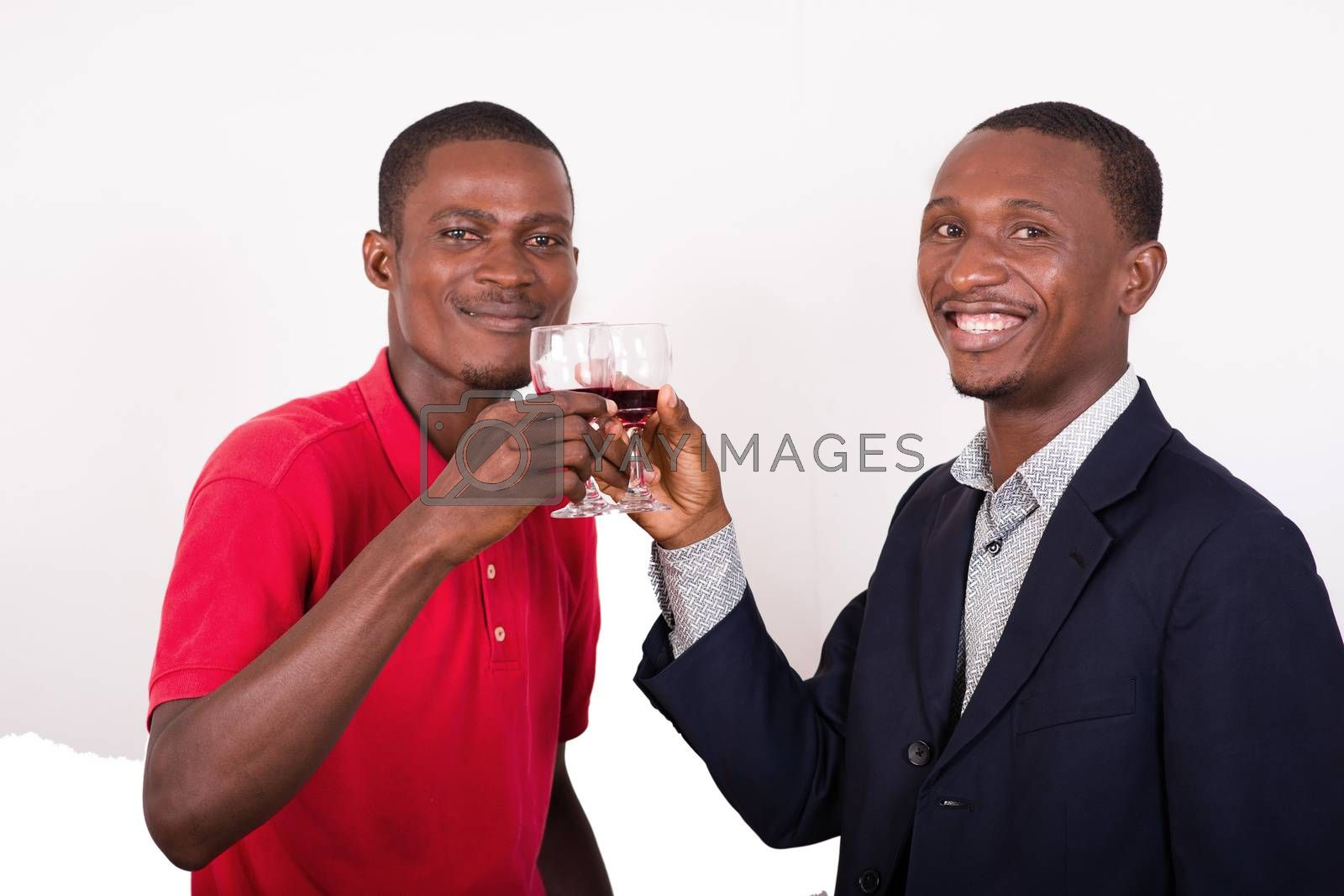 celebration, between two happy business people holding glasses of wine and toastcelebration, between two happy business people holding glasses of wine and toast