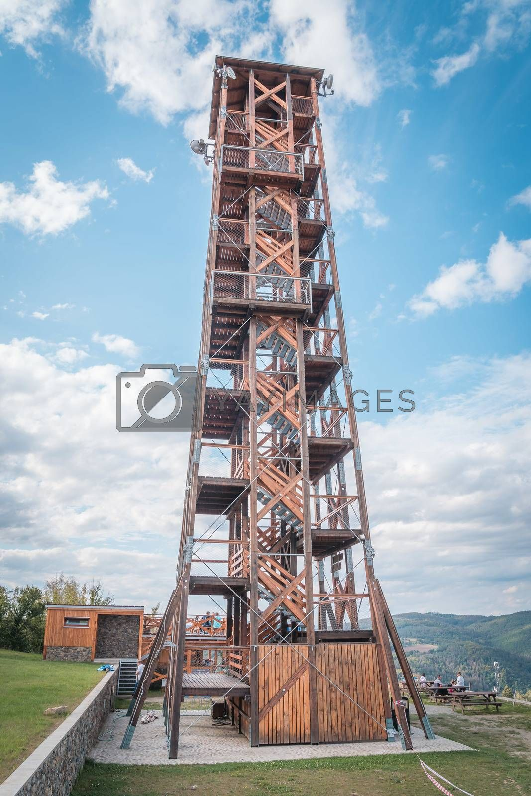 Royalty free image of Observation deck lookout tower called Milada near Orlik dam in evening light, Pribram, Czech republic by petrsvoboda91