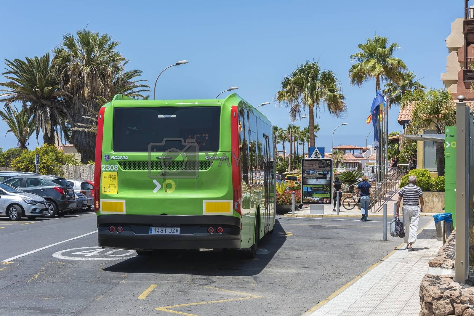 Spain, La Caleta - May 15, 2018: - Scheduled passenger bus Scania transport company TICA. Transport company TICA performs passenger transportation on the island of Tenerife.