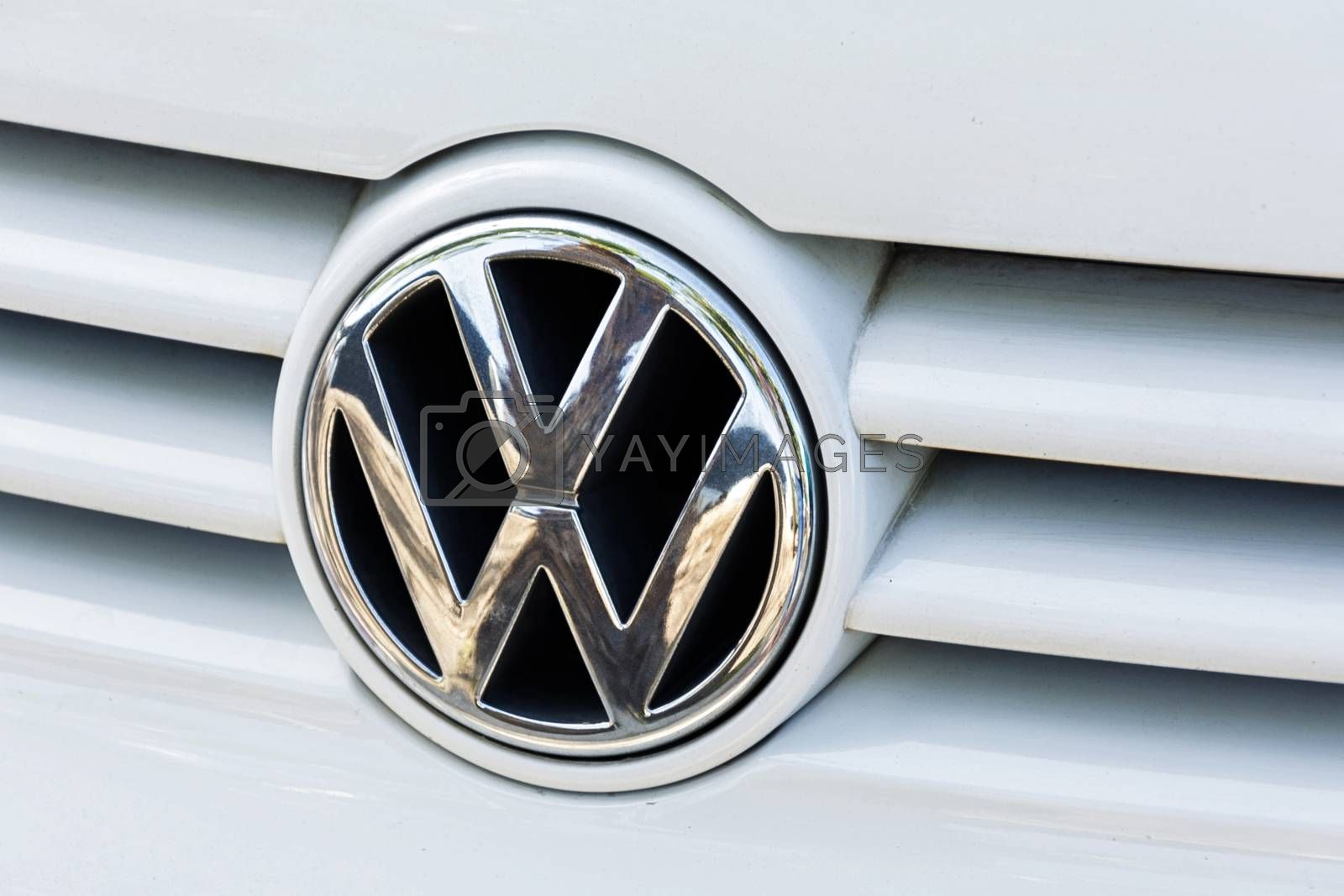 Royalty free image of Logo of the German automobile company Volkswagen on the radiator by Grommik
