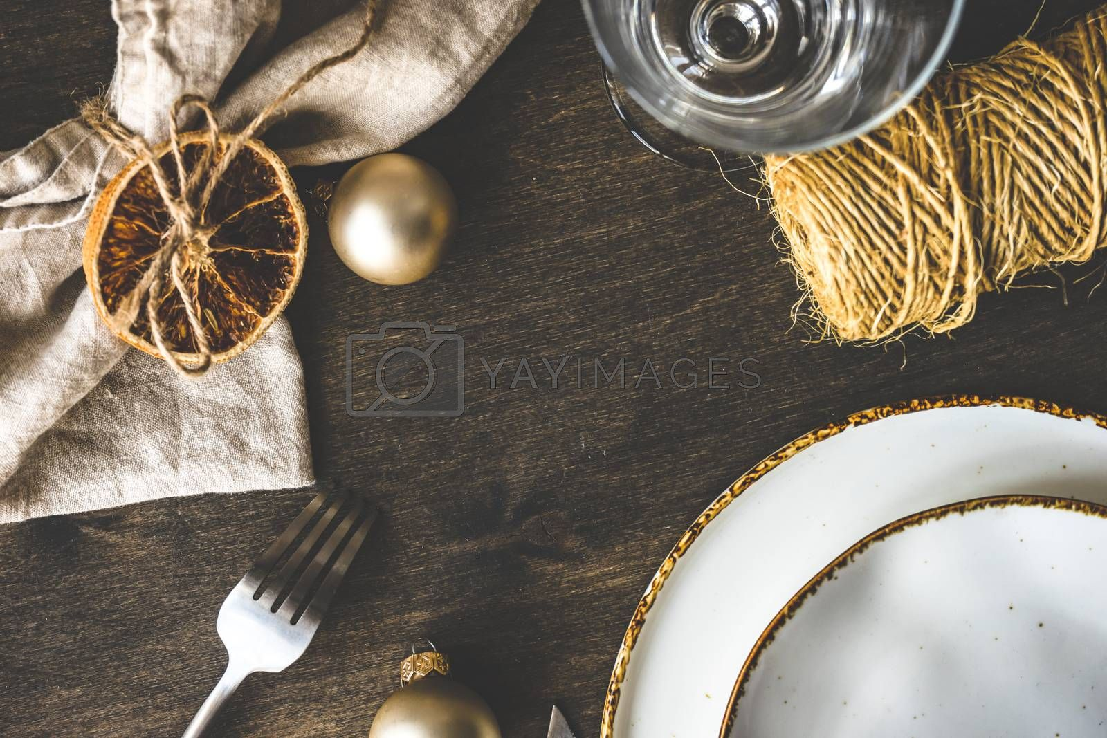 Vintage tabel setting for festive holiday Christmas dinner on wooden table with copy space
