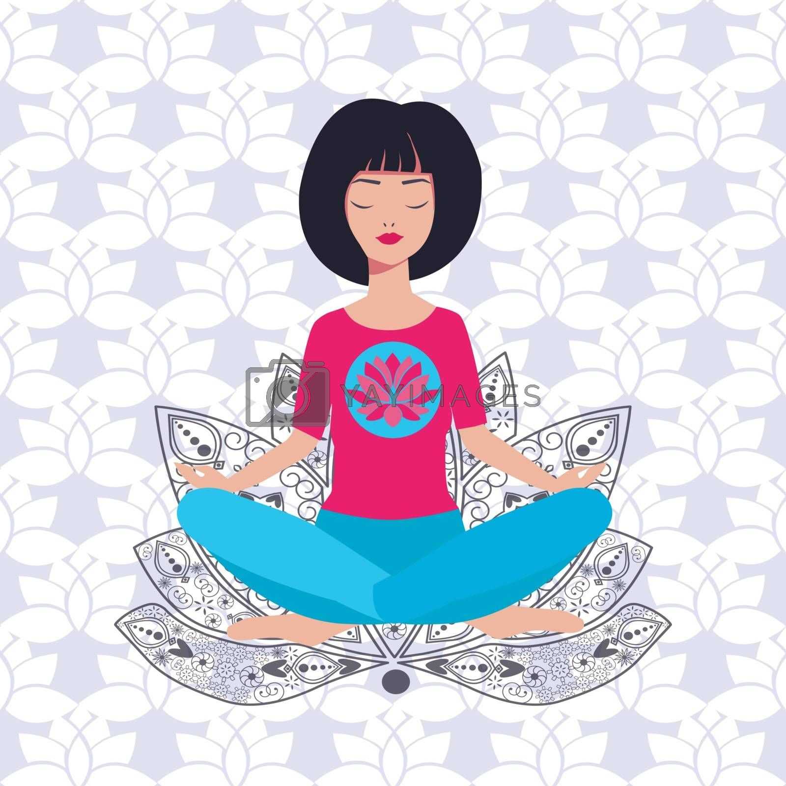 Yoga girl in lotus position and background with lotus by Margolana