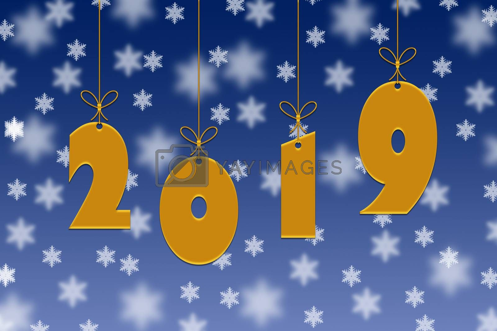 Template for congratulations on the new 2019 year. 2019 gold numbers on a blue background with snowflakes