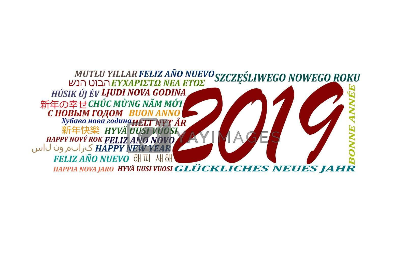 Happy new year 2019 in different languages of the world on a white background