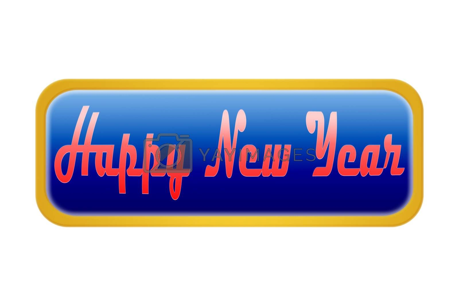 A blue button with the inscription happy New Year, white background