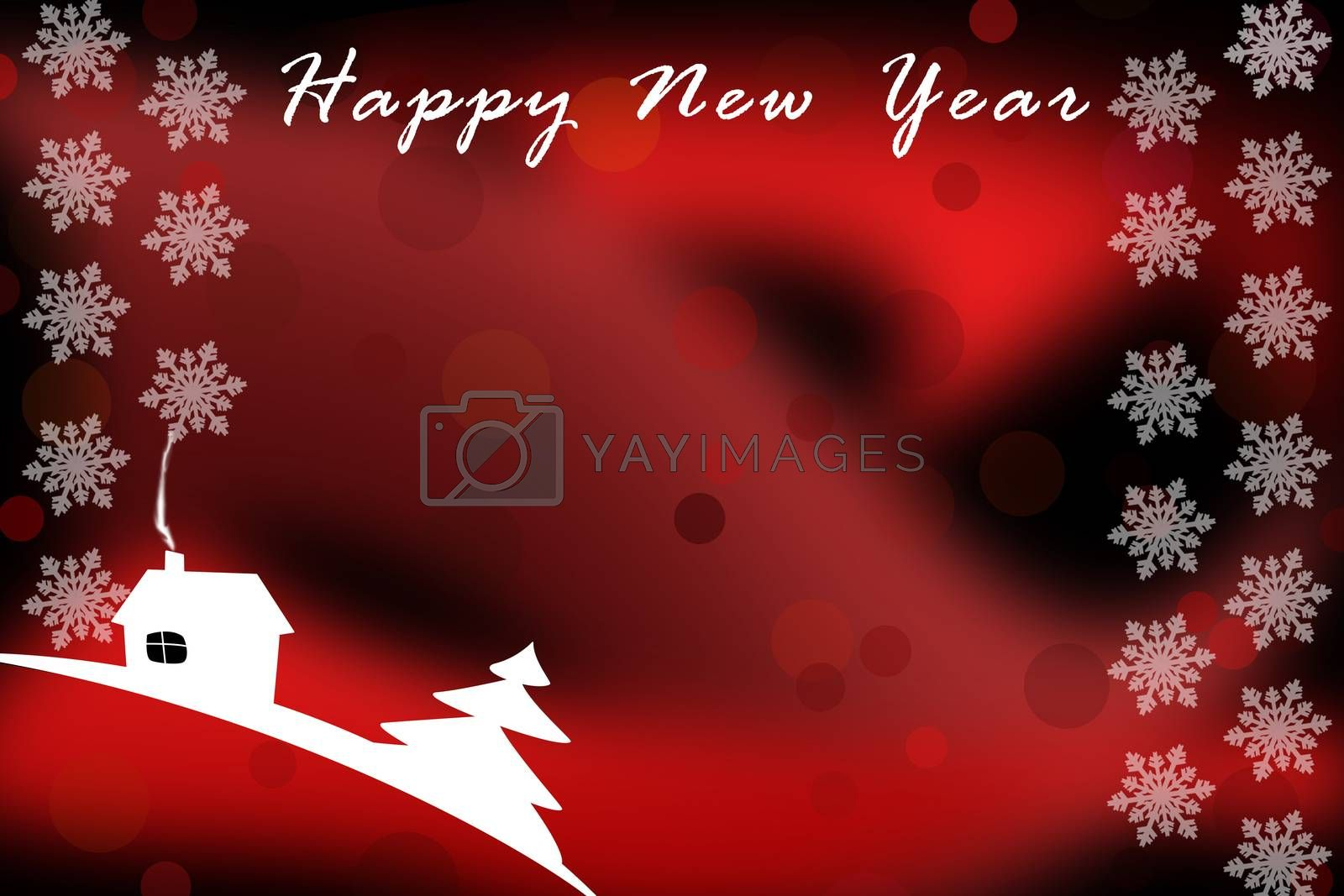 Illustration. New year greetings template on red background