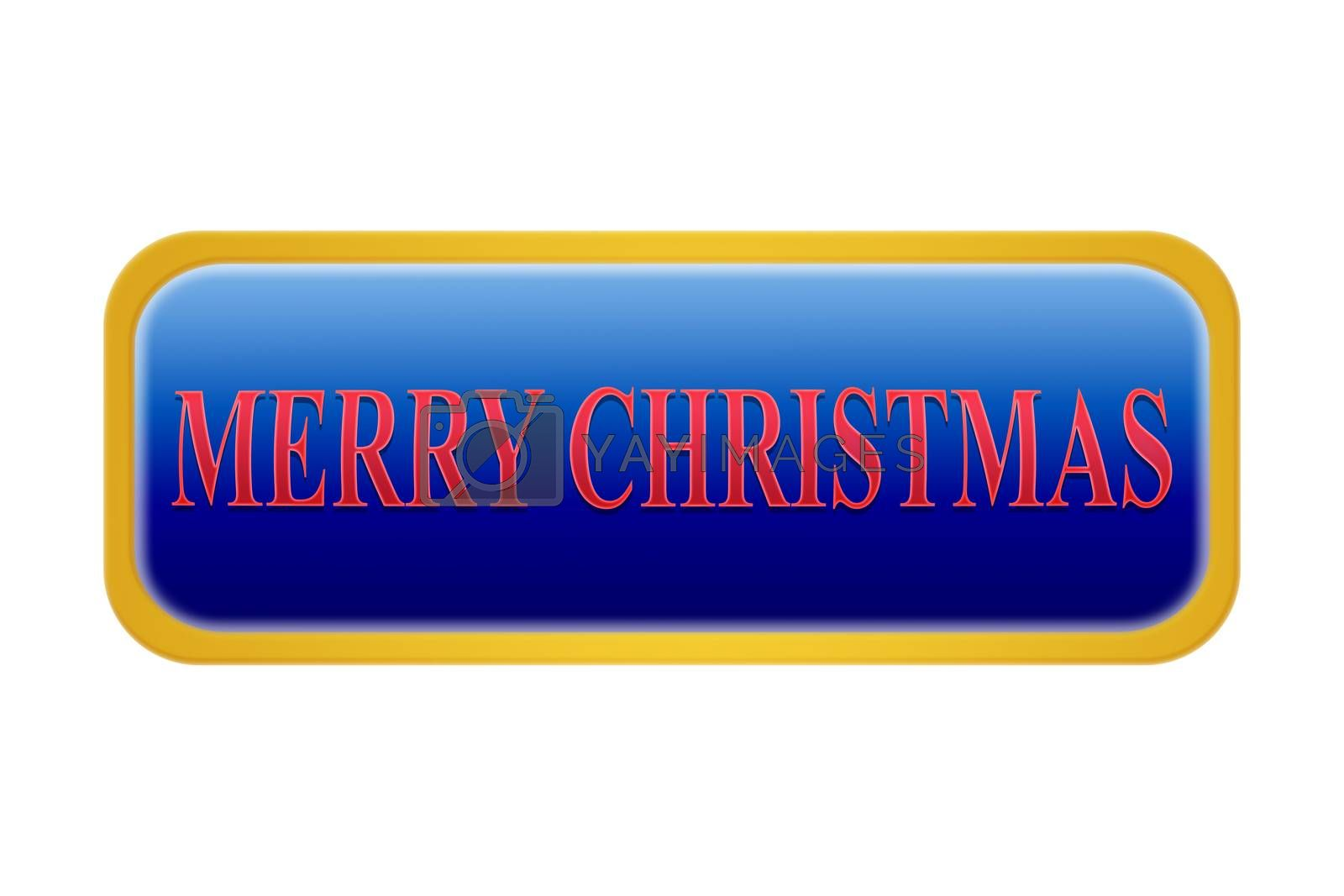 A blue button with the inscription merry Christmas, white background