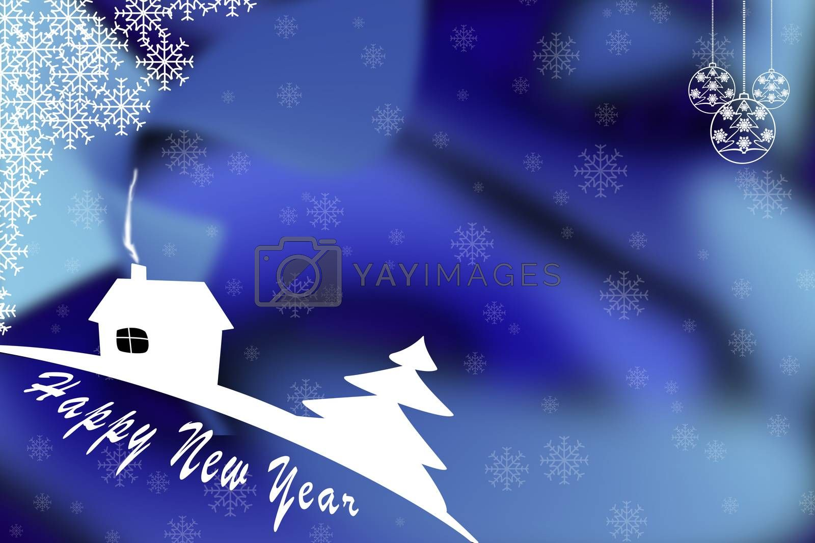 Illustration. New year greetings template on blue background with Christmas balls and snowflakes