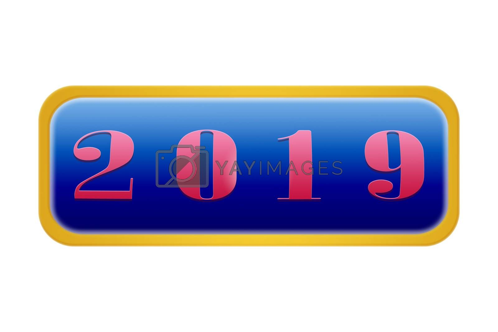 Blue button with number 2019, white background