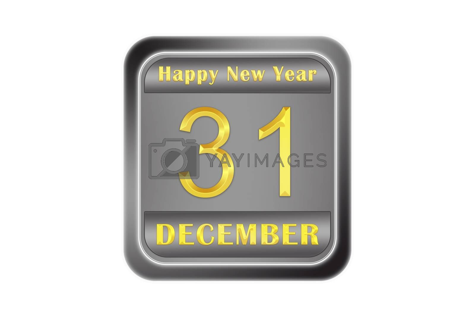 Metal volume plate with new year greetings, gold inscription on December 31