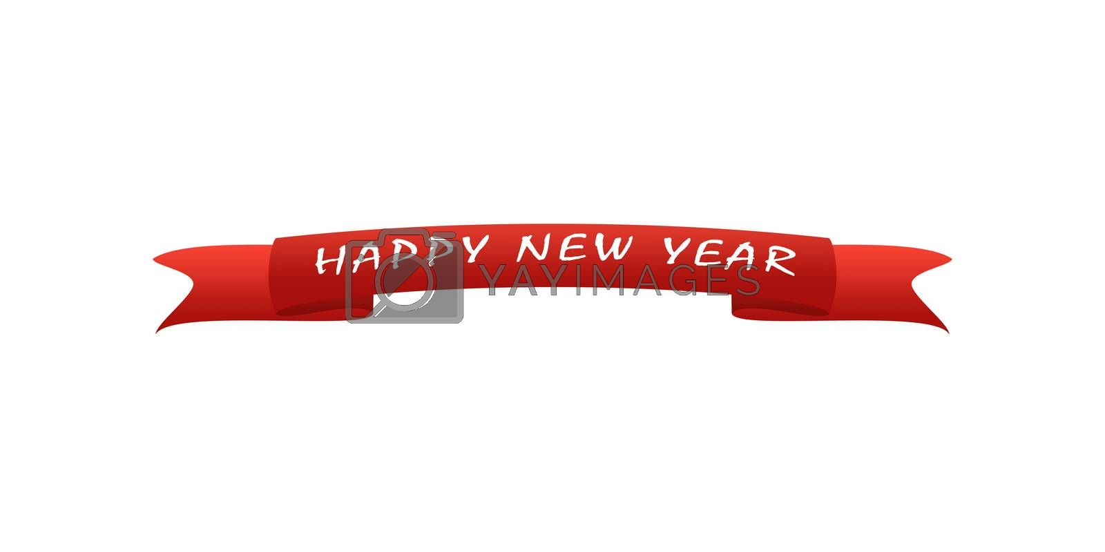 On the red greeting ribbon is written in white font New year, white background