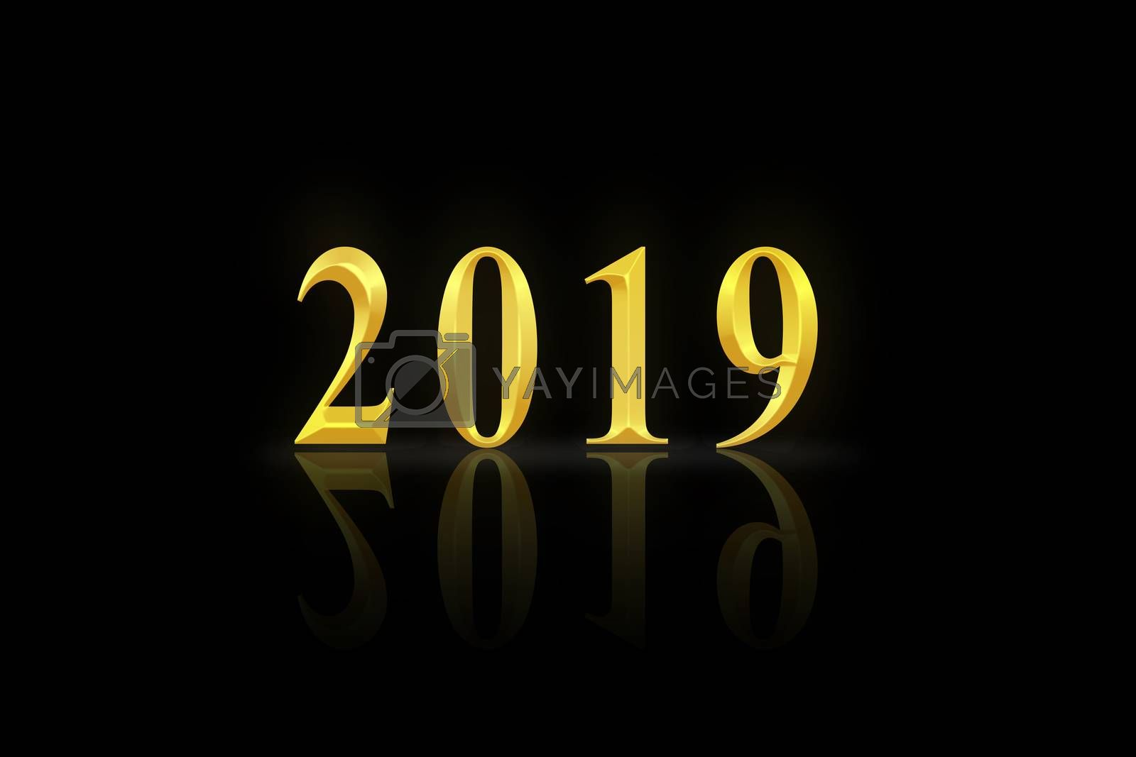 Number 2019 in gold letters on black background
