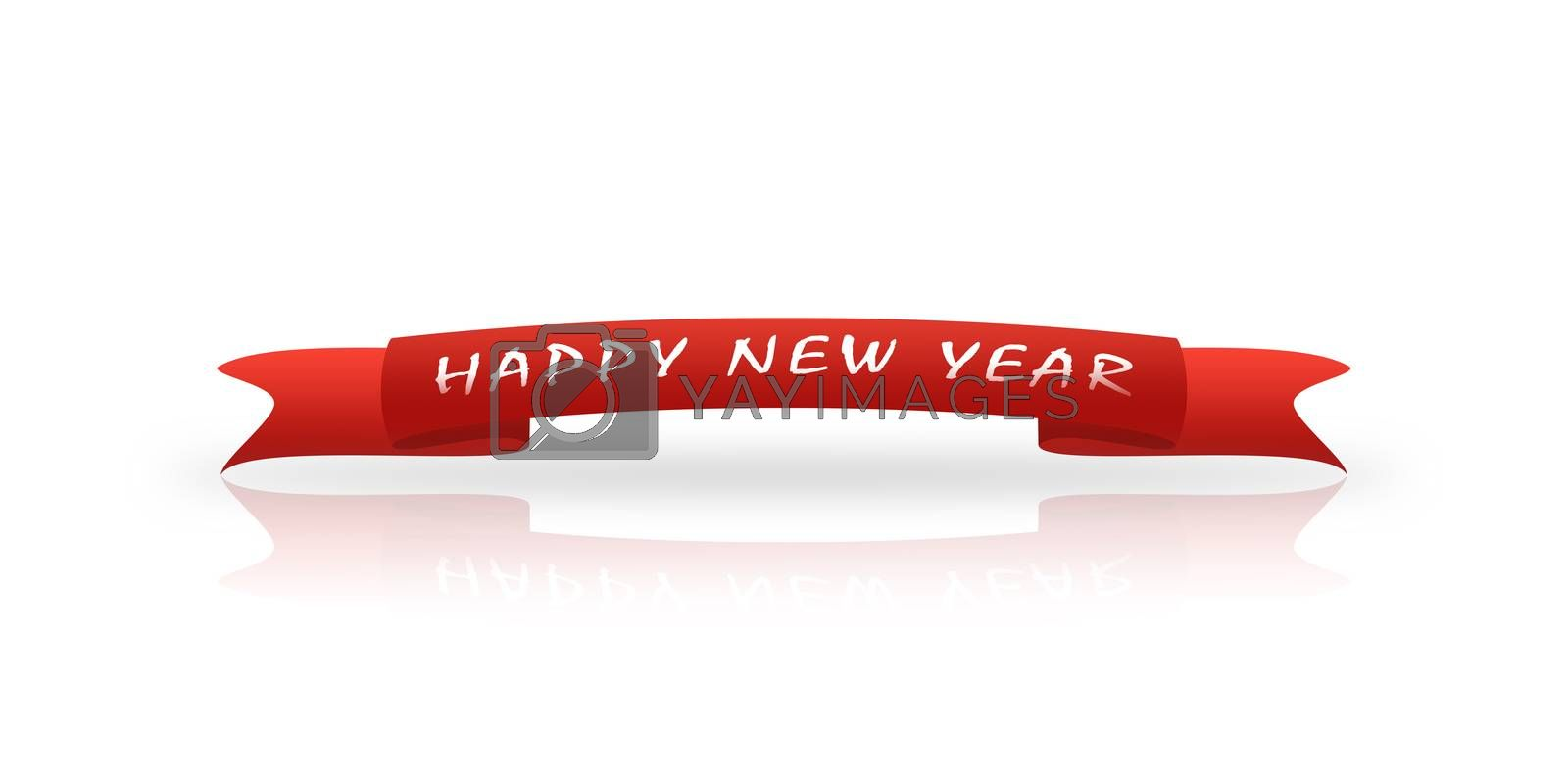 On the red greeting ribbon is written in white font New year, white background, reflection,