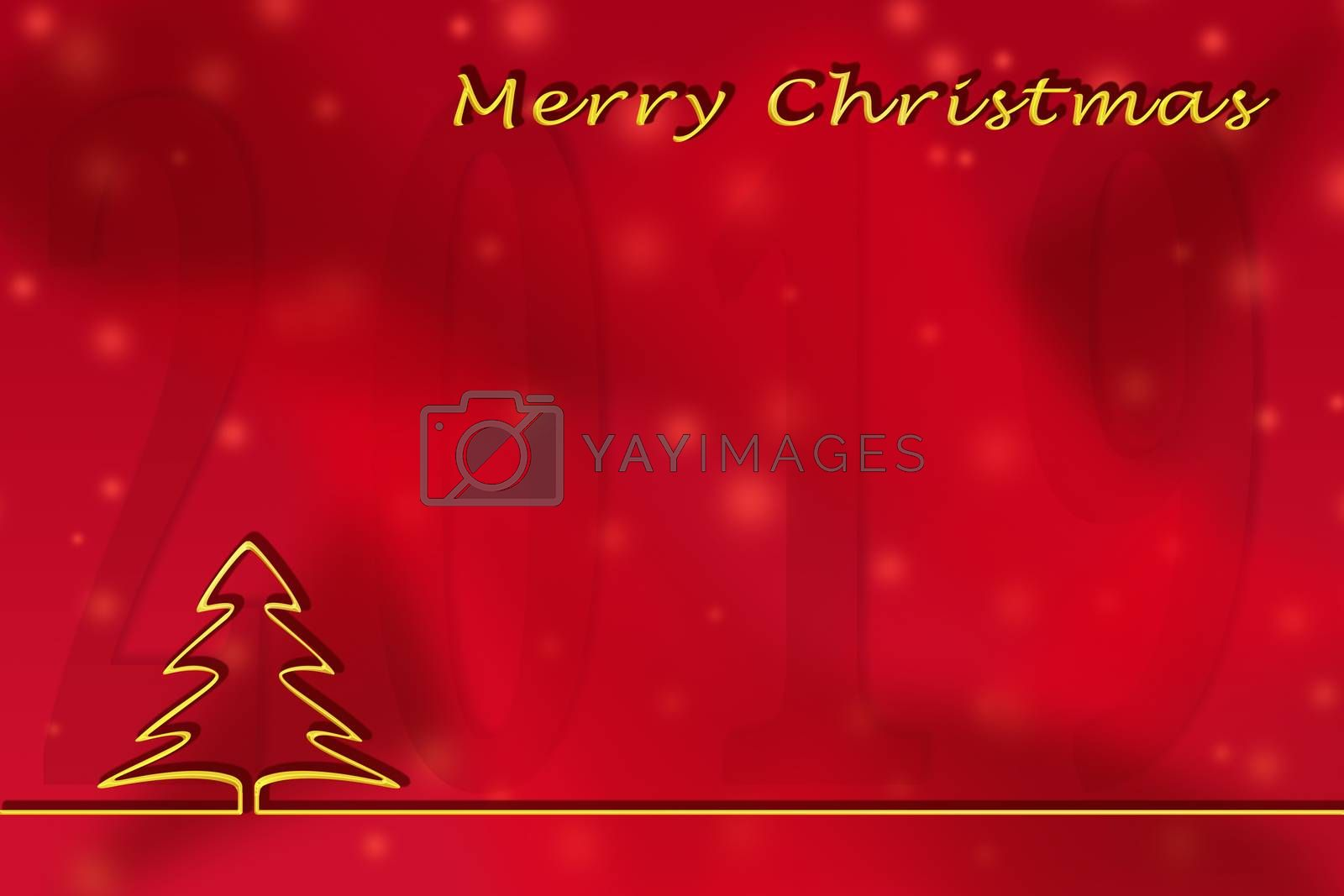 Illustration. Christmas greetings 2019 template on a red background with a Golden outline of a Christmas tree