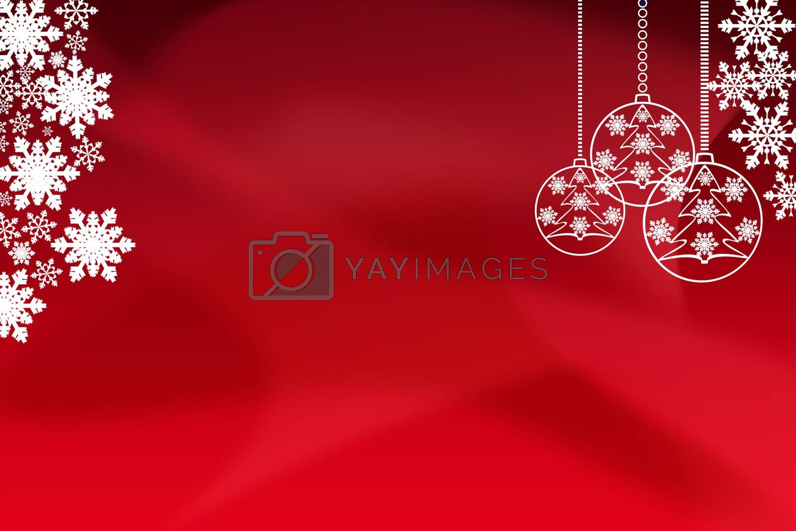 Christmas screensaver, background for Christmas and new Year greetings, red background with snowflakes, Christmas balls and a place for the inscription