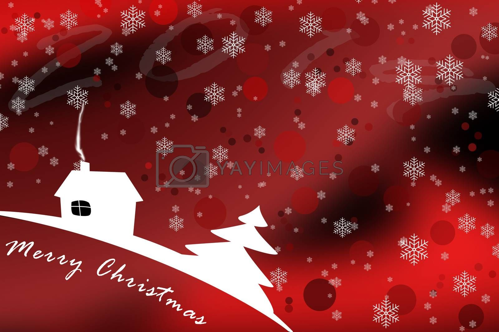 Pattern with snowflakes for merry Christmas greetings with red background