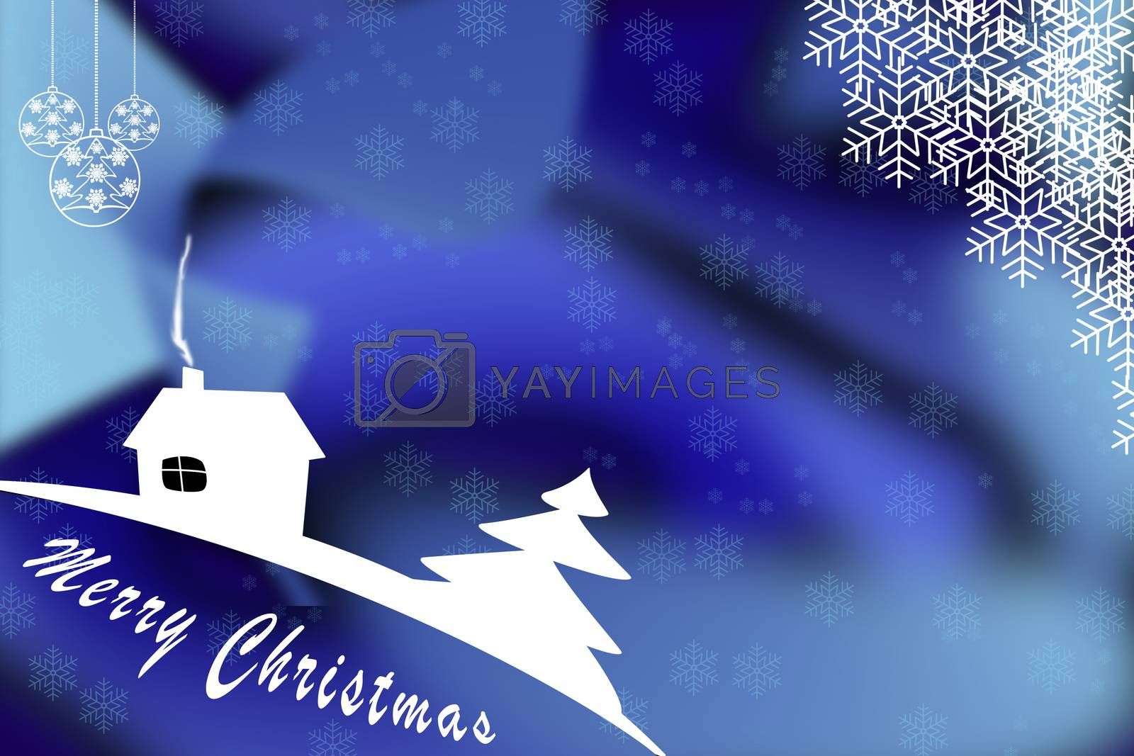 Illustration. Christmas greetings template on blue background with Christmas balls and snowflakes