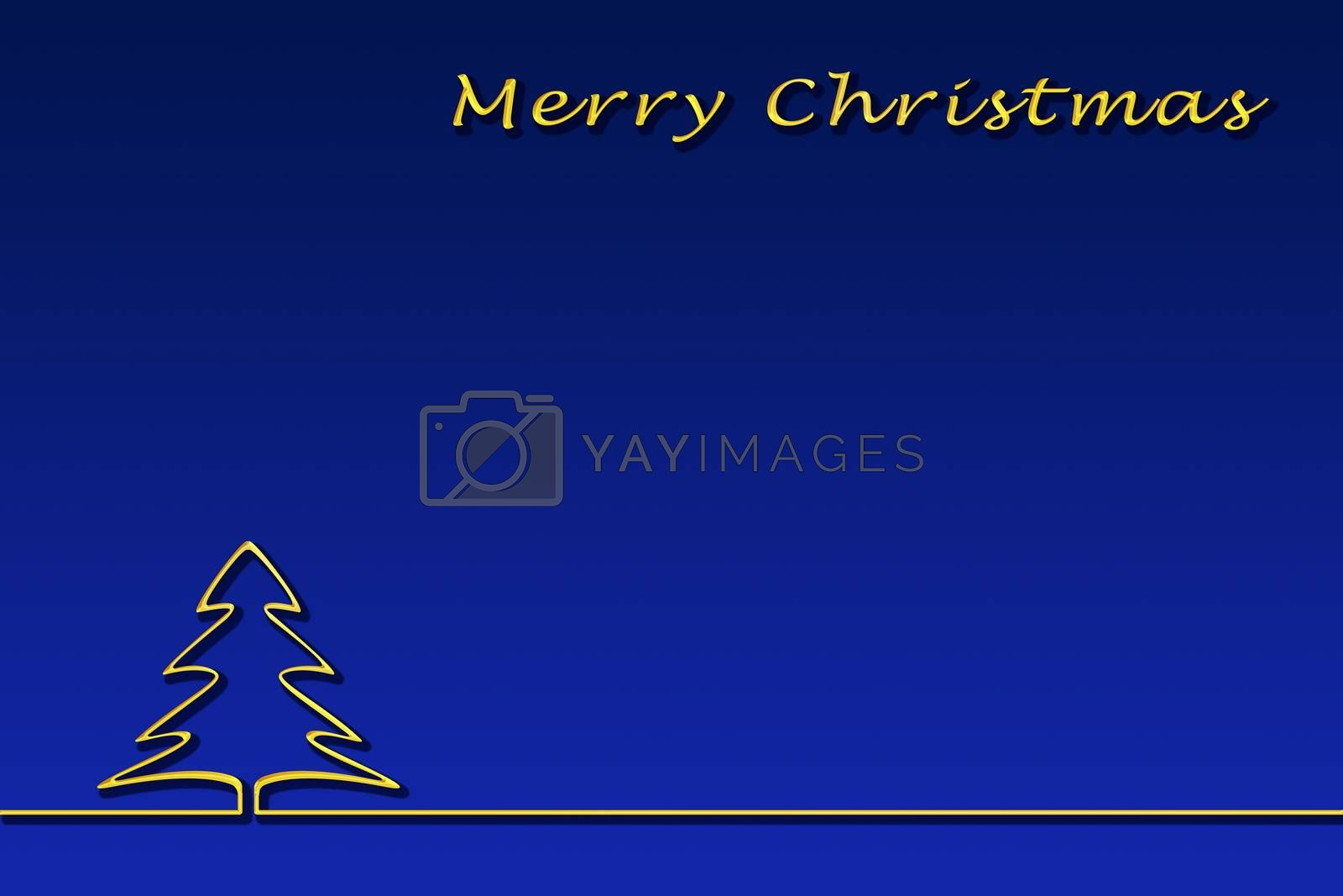Template for congratulations on Christmas. Gold lettering of a happy Christmas and contour of a Christmas tree, blue gradient background