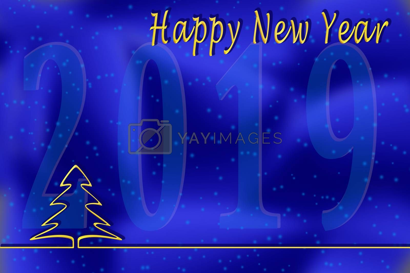 New 2019 greetings template on a blue background with a Golden outline of the Christmas tree