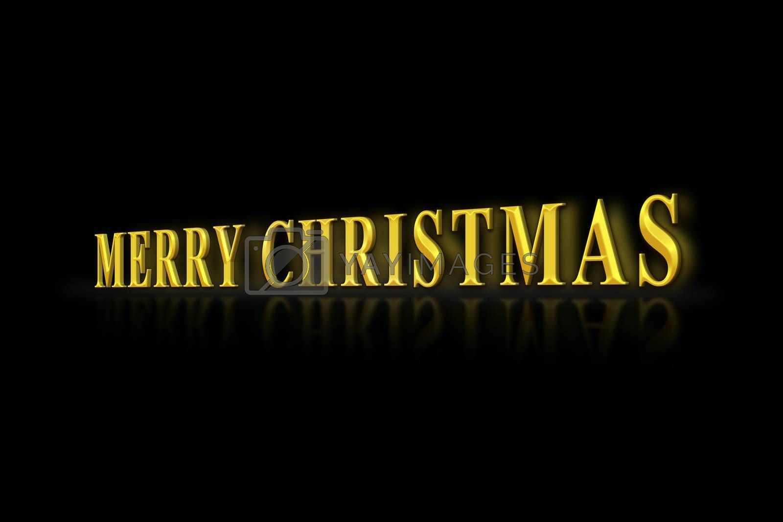 The inscription merry CHRISTMAS with Golden letters on a black background