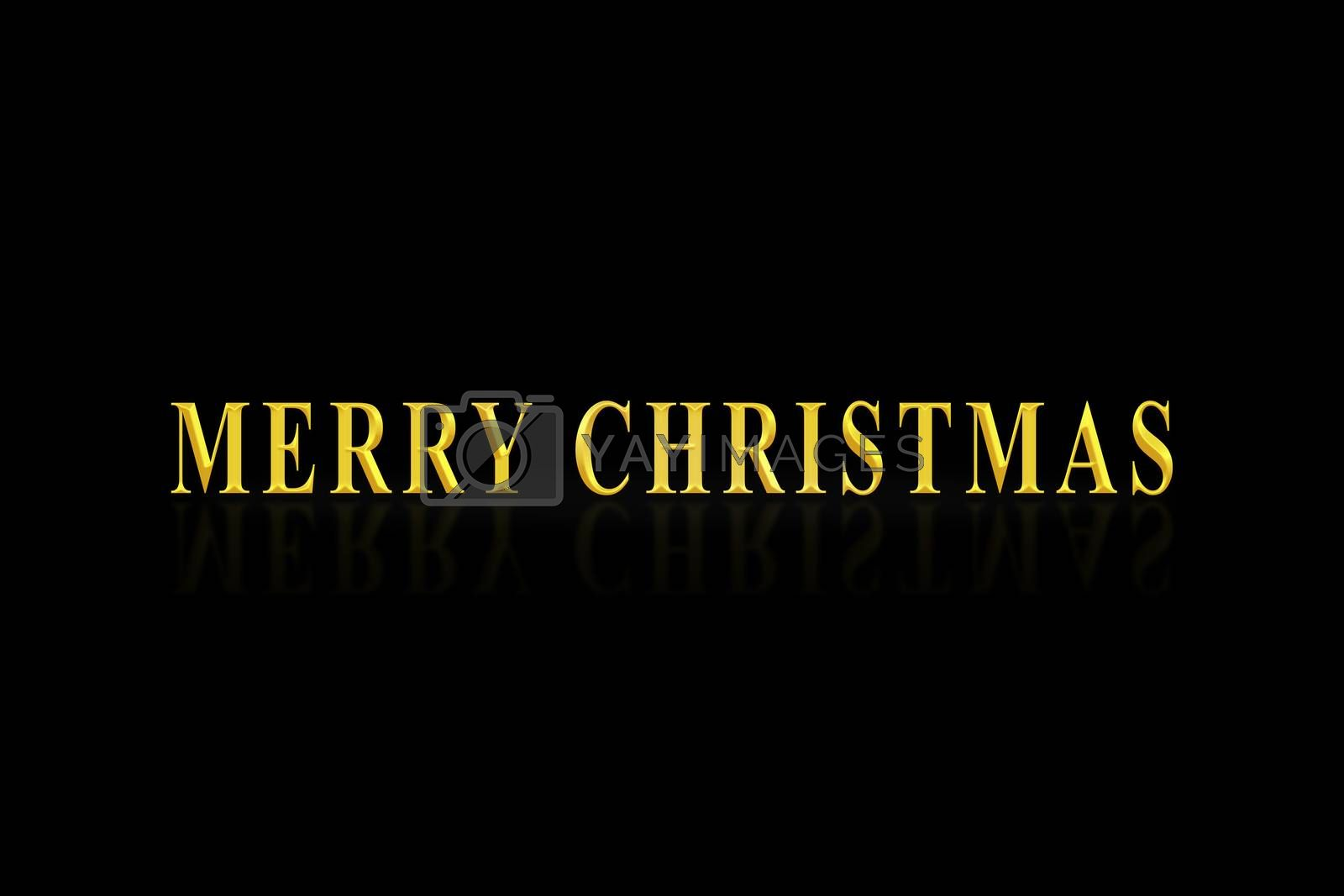 The inscription merry CHRISTMAS in gold letters, black background