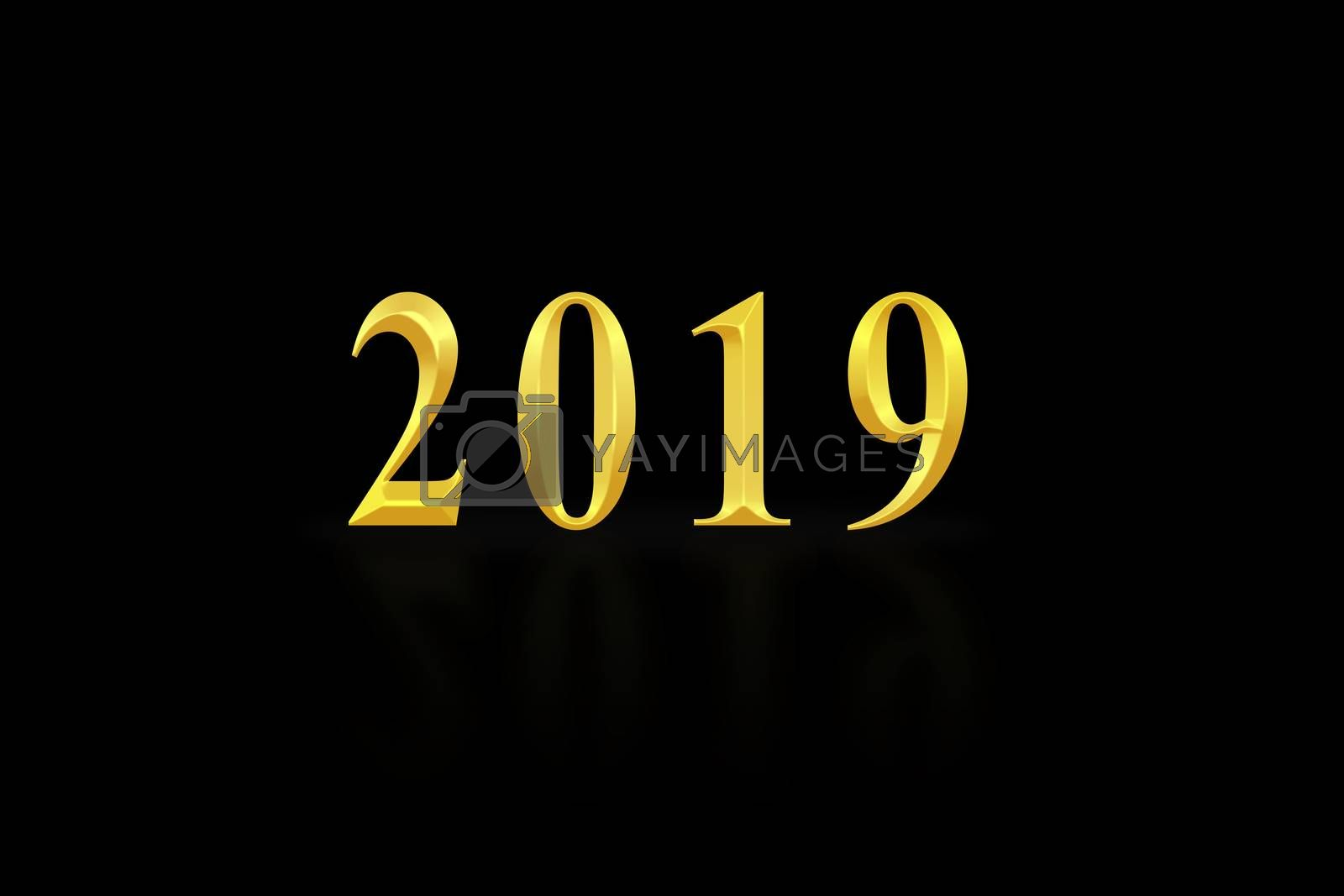 The number 2019 in gold letters, black background