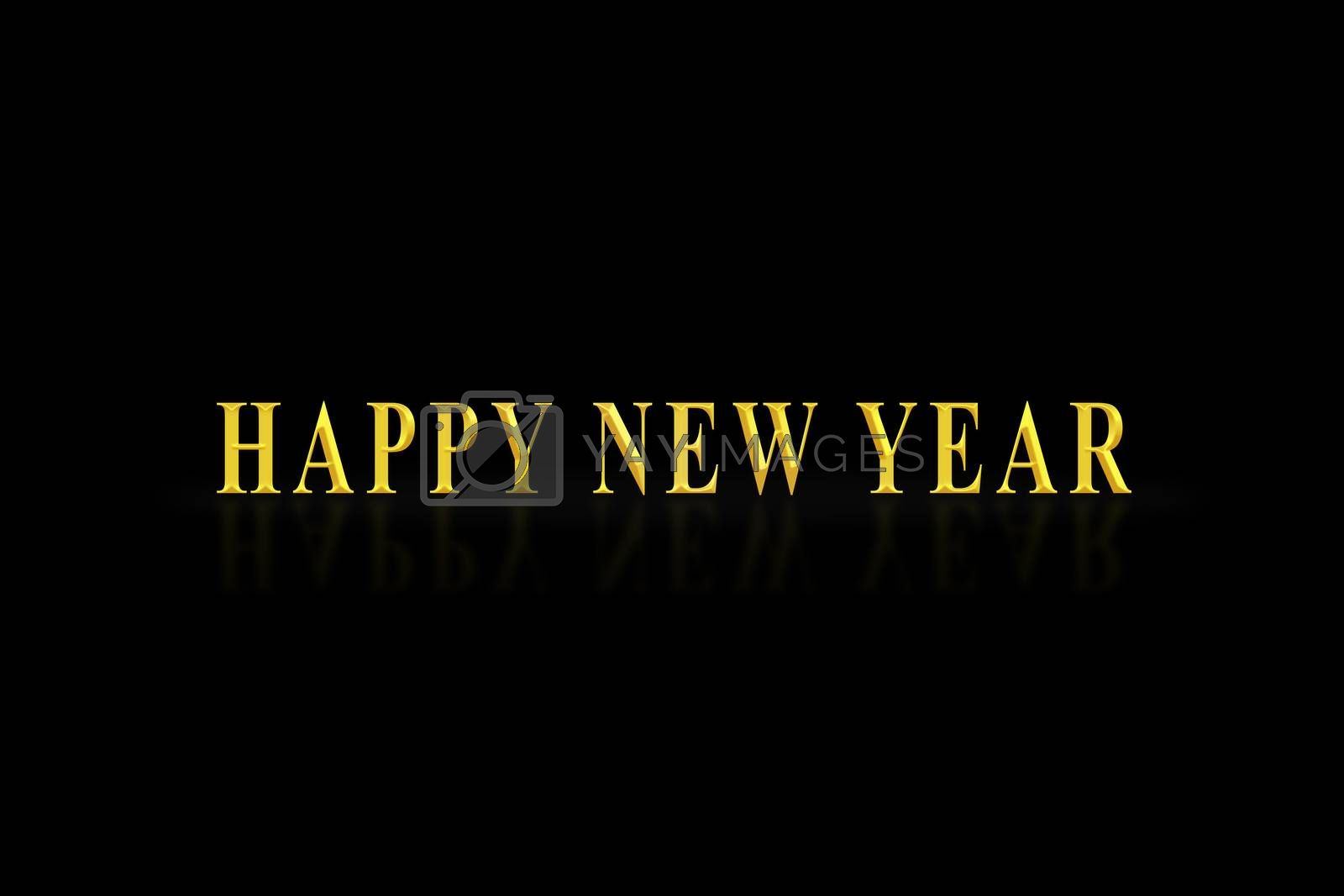 The inscription happy NEW YEAR in gold letters, black background