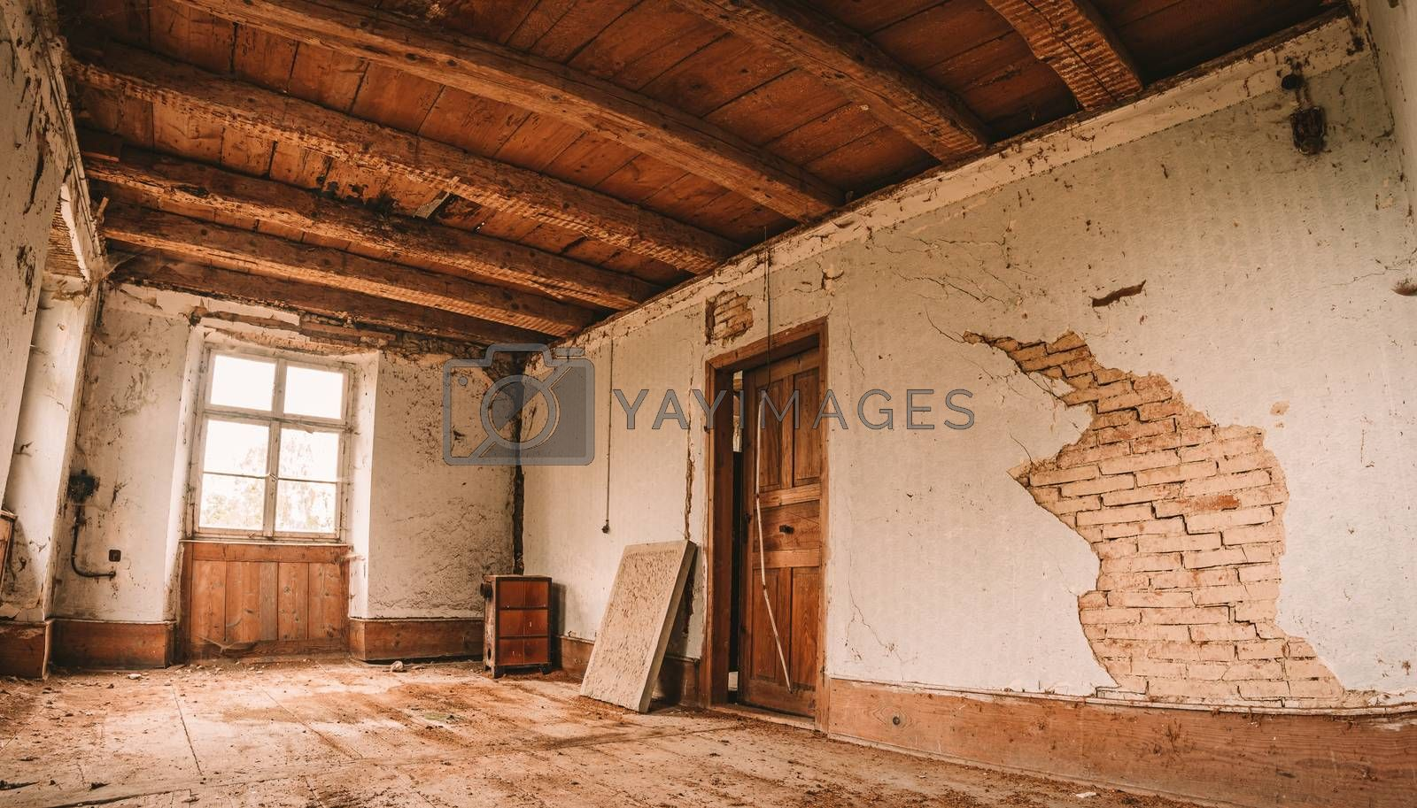 An old abandoned manor house with antique furniture and wonderful architecture by mindscapephotos
